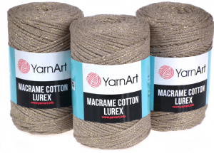 Sznurek 3mm Yarn Art, Macrame Cotton Lurex, 735 beżowy