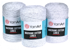 Yarn Art, Macrame Cotton Lurex 3mm, 720 biały