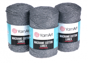 Sznurek 3mm Yarn Art, Macrame Cotton Lurex, 737 szary
