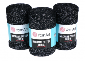 Sznurek 3mm Yarn Art, Macrame Cotton Lurex, 723 czarny