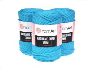 Sznurek 3mm Yarn Art, Macrame Cord, 763 turkusowy, 250 g